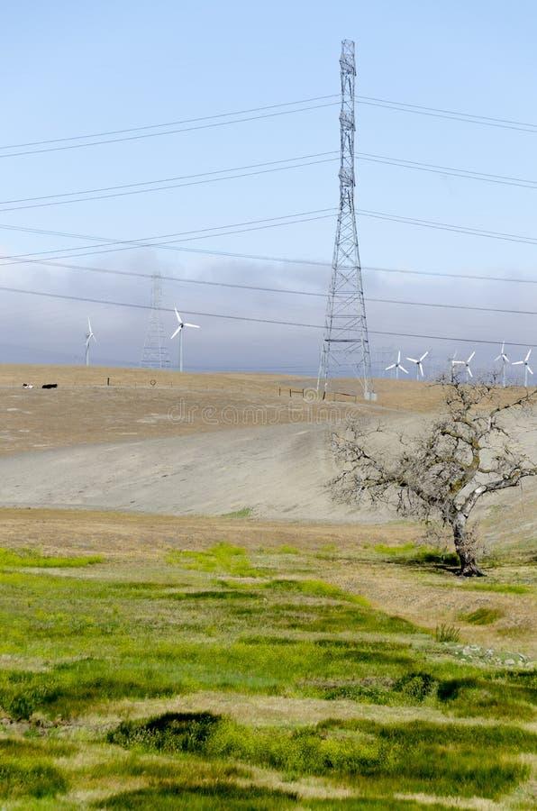 Parco eolico in collina dorata di Livermore in California immagini stock libere da diritti