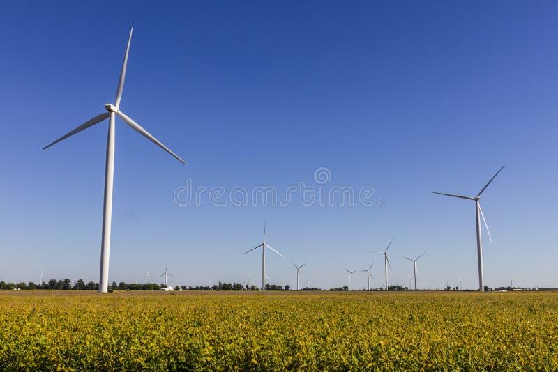 Parco eolico in Indiana centrale Il vento e le aree verdi solari di energia stanno diventando molto popolari nelle comuni agricol immagini stock libere da diritti