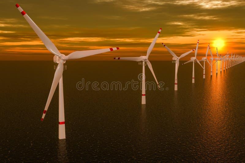 Parco eolico, insieme dei generatori eolici in mare durante il tramonto rappresentazione 3d illustrazione vettoriale