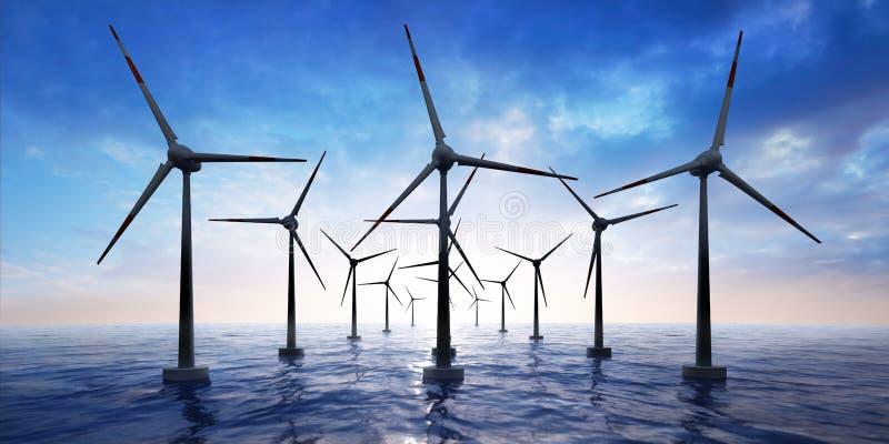 Parco eolico nell'oceano al tramonto illustrazione di stock