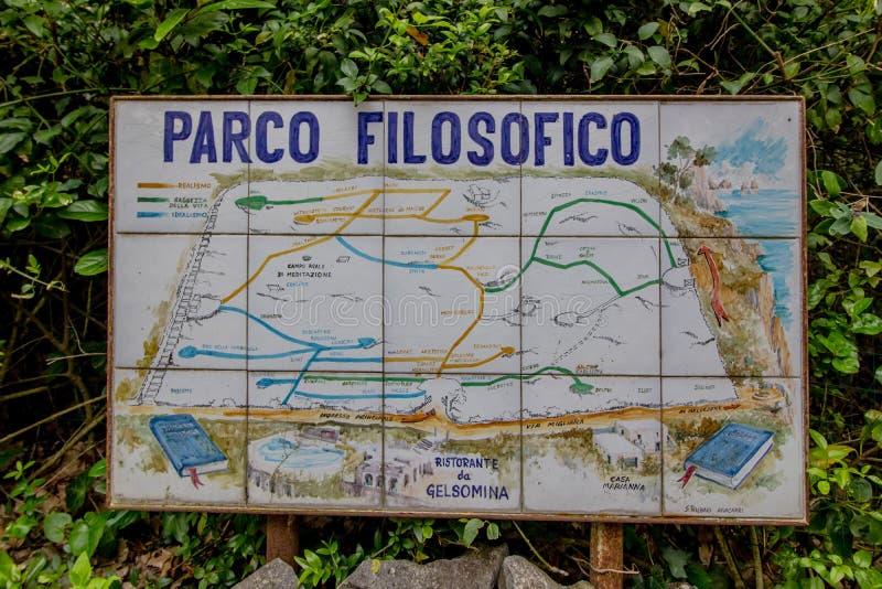 Parco Filosofico na ilha de Capri, Itália fotos de stock royalty free