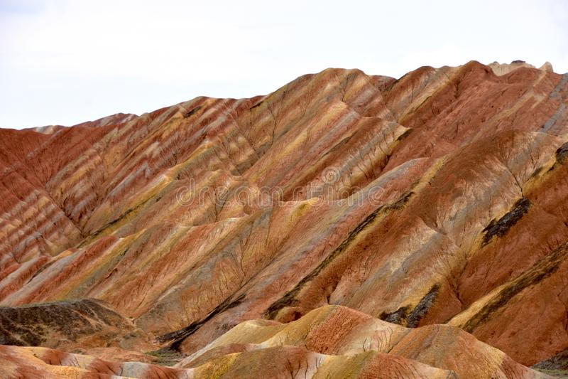 Parco geologico nazionale di Danxia a Zhangye, Cina immagini stock libere da diritti