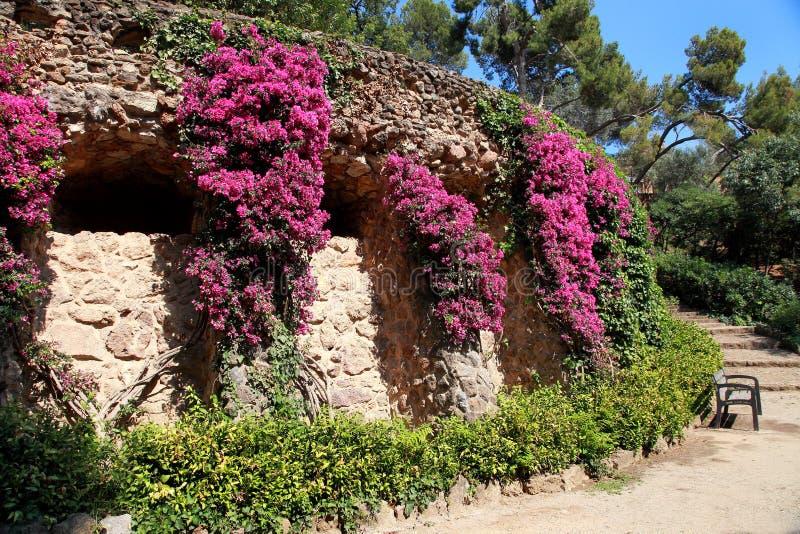 Parco Guell da Antoni Gaudi, Barcellona, Spagna fotografia stock libera da diritti