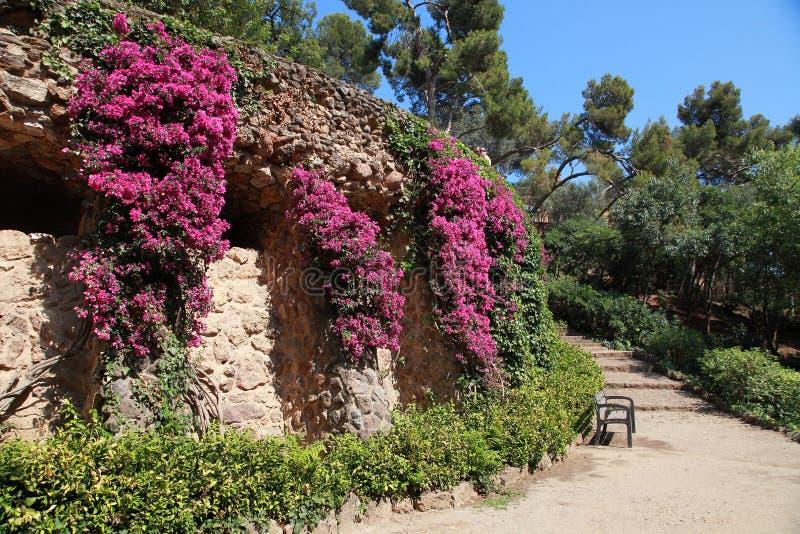 Parco Guell da Antoni Gaudi, Barcellona, Spagna fotografia stock