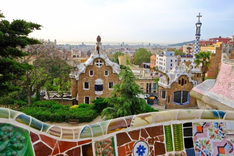 Parco Guell da Gaudi a Barcellona, Spagna fotografia stock