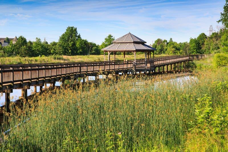 Parco la Virginia di riflessione del lago boardwalk del gazebo immagini stock