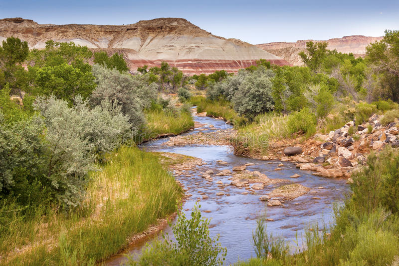 Parco nazionale bianco rosso Utah della scogliera del Campidoglio del fiume di Fremont della montagna immagine stock