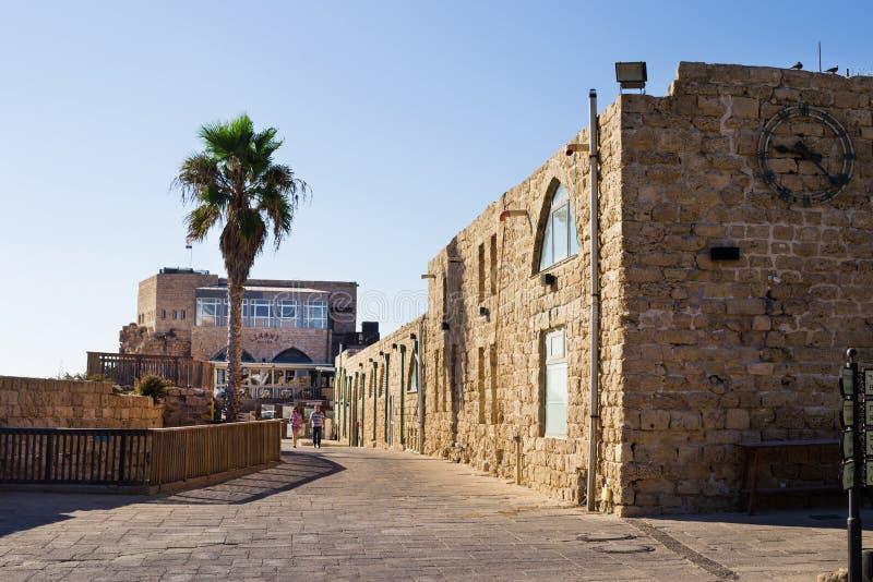 Parco nazionale Cesarea sulla costa del mar Mediterraneo, Israele immagine stock libera da diritti