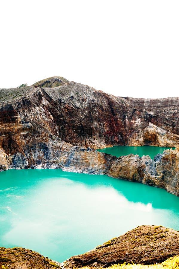 Parco nazionale di Kelimutu in Indonesia Laghi colorati in cratere del vulcano di Kelimutu, Flores fotografia stock