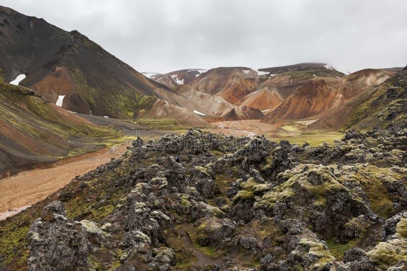 Parco nazionale di Landmannalaugar Pendii variopinti di fotografia stock
