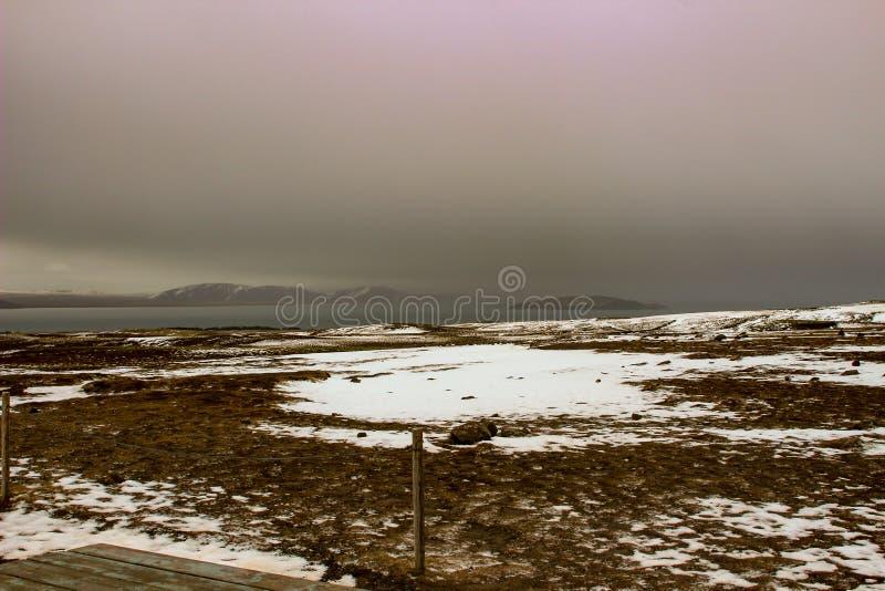 Parco nazionale Islanda di Thingvellir - nordamericana - spaccatura di Europa immagine stock