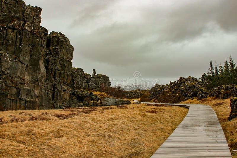 Parco nazionale Islanda di Thingvellir - nordamericana - spaccatura di Europa immagini stock
