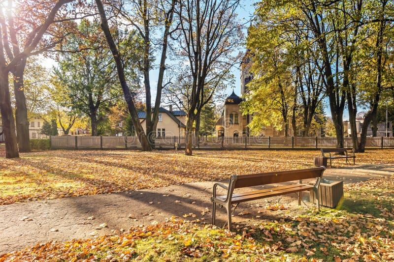 Parco pubblico centrale in Jurmala, Lettonia fotografia stock
