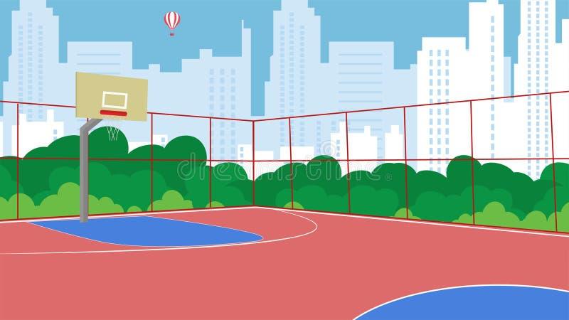 Parco recintato del campo da pallacanestro piano di vettore nuovo royalty illustrazione gratis