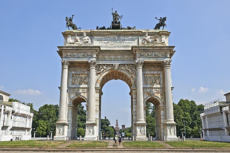 Parco Sempione和曲拱和平 免版税库存图片