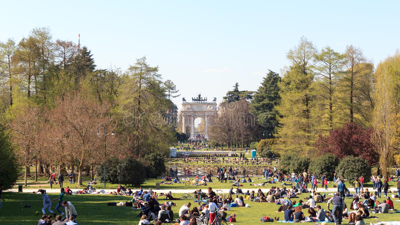 Parco Sempione (Simplon Park) in Milan with Arch of Peace stock photography
