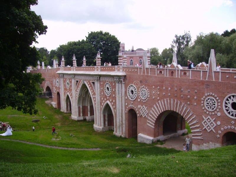 Parco Tsaritsino di Mosca La combinazione di natura e di architettura immagine stock libera da diritti