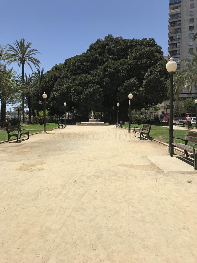 Parco unico, spiaggia, estate, yacht in Alicante fotografia stock libera da diritti