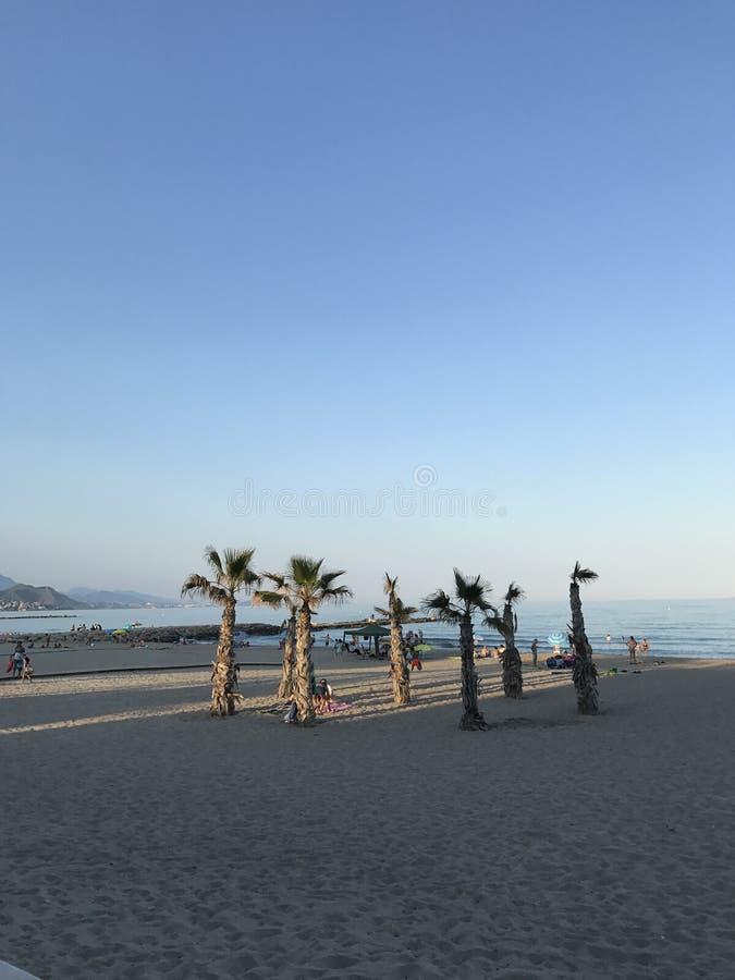 Parco unico, spiaggia, estate, yacht in porto di Alicante immagine stock