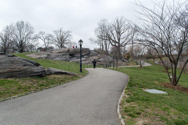 Parco urbano in molla in anticipo, mezzo del marzo, alberi nudi New York fotografia stock libera da diritti