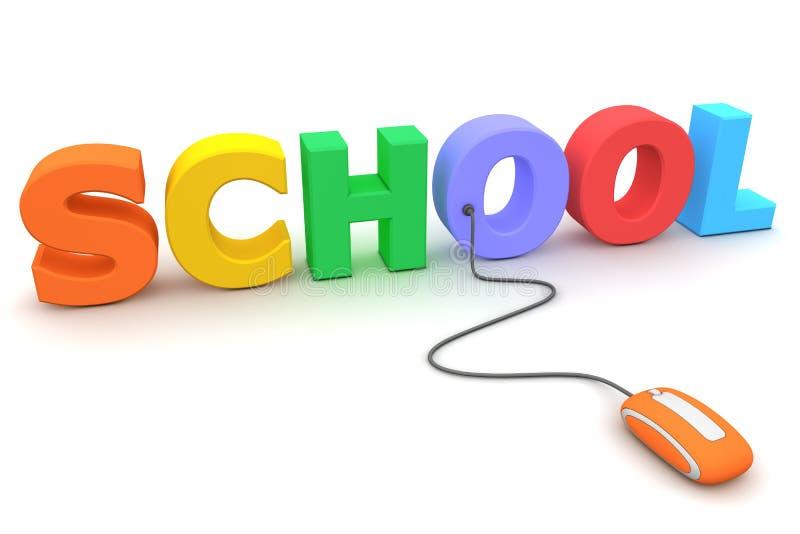 Parcourez l'école colorée - souris orange illustration de vecteur