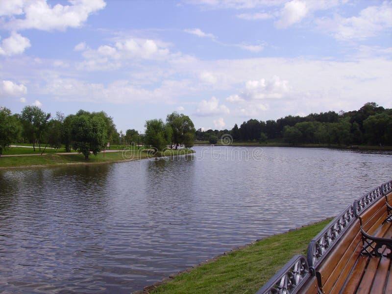 Parcs de Moscou Le long de la rivière il y a des pelouses et des arbres photographie stock libre de droits