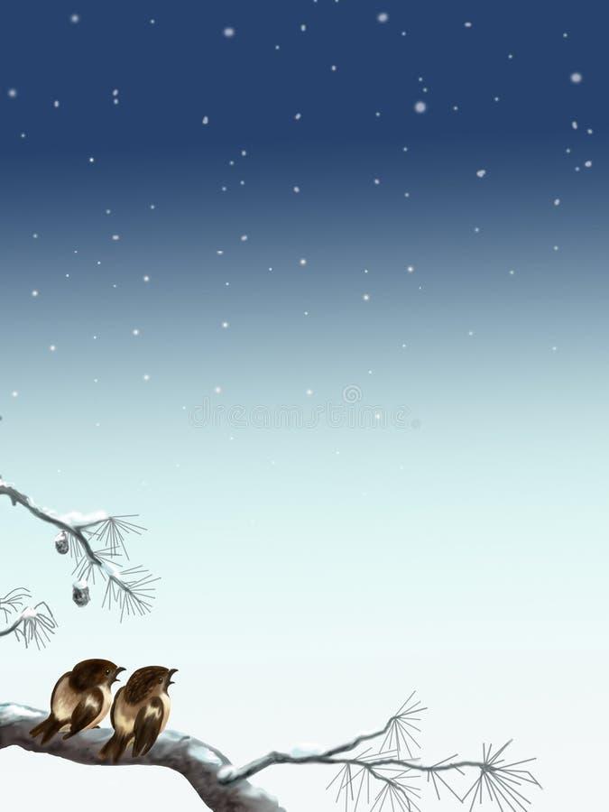 Pardais em uma noite do inverno ilustração do vetor