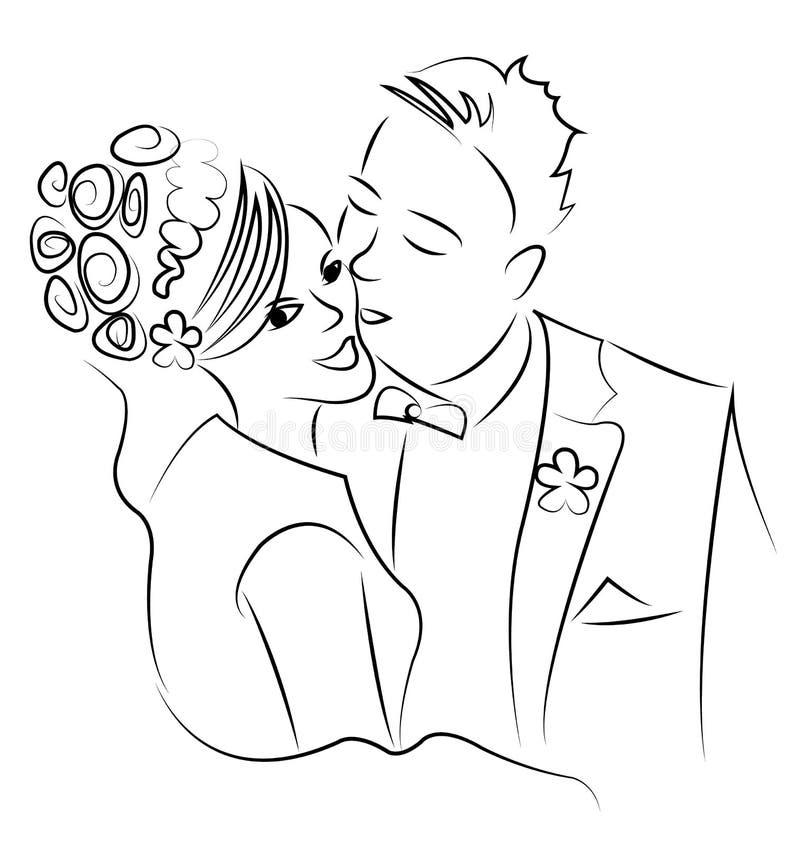 pardans som att gifta sig bara royaltyfri illustrationer