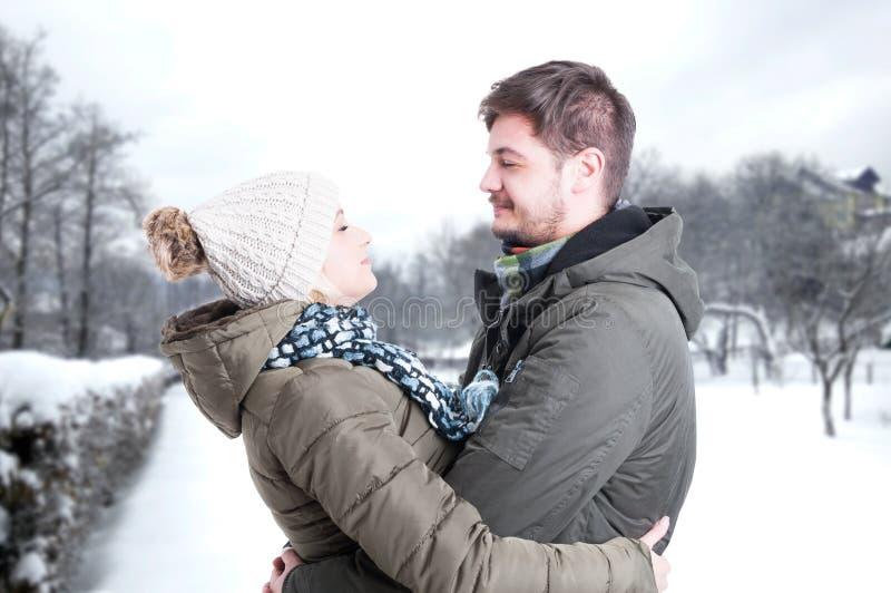 Pardatummärkningen och att krama i vinter parkerar royaltyfri fotografi