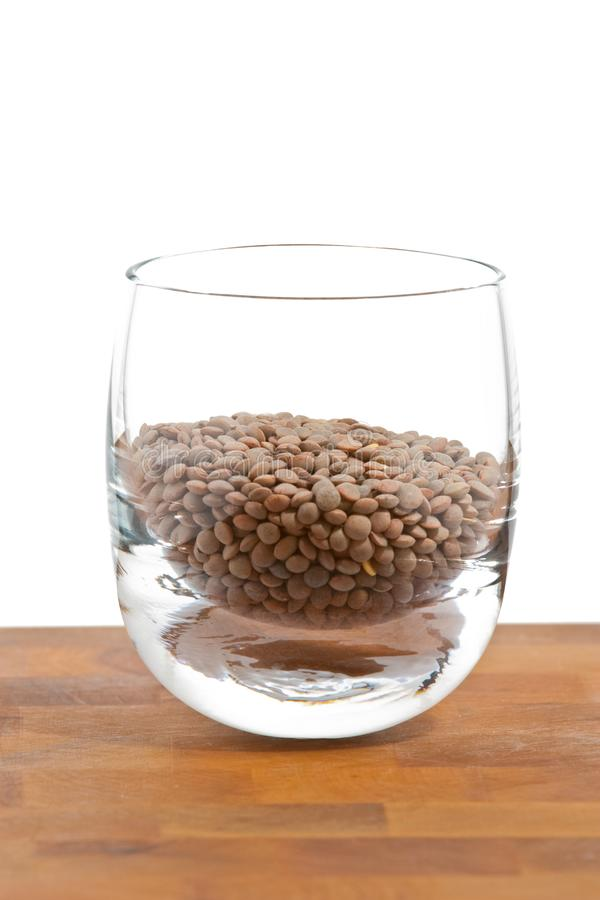 Pardina lentils in glass on wooden table