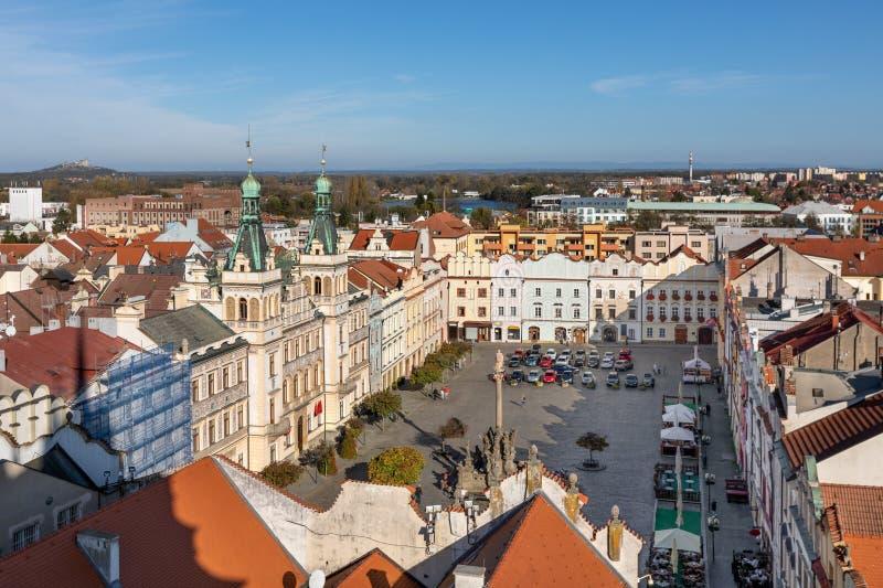 Pardubice, Czech republic. Aerial view of city central square stock photos