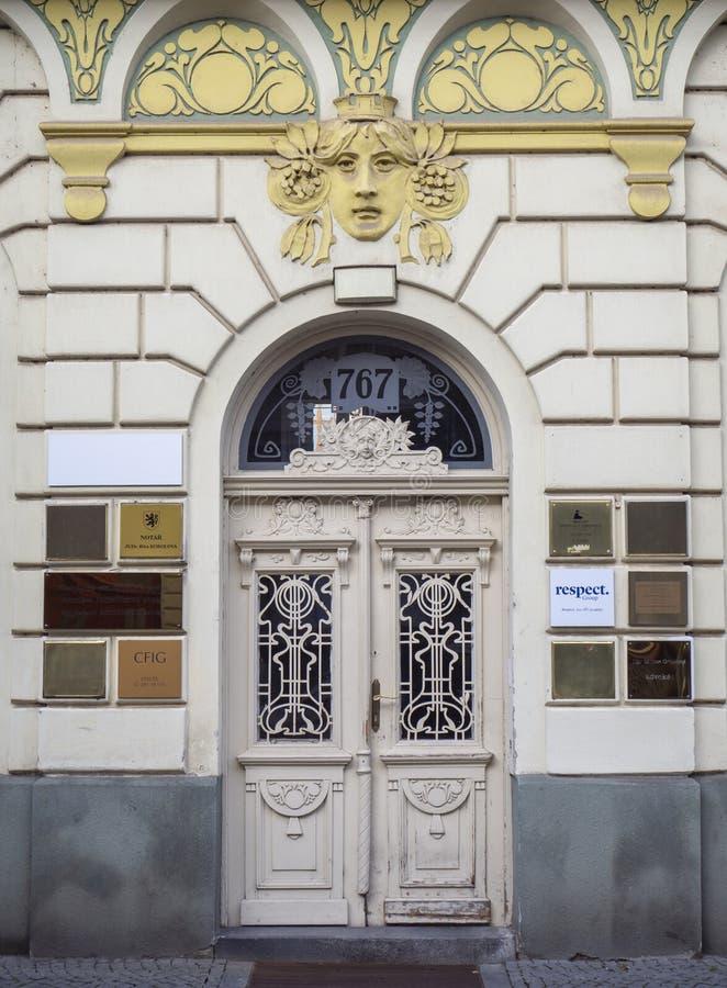 Pardubice, Czech Republic. Decorate iron door of a luxury building stock images