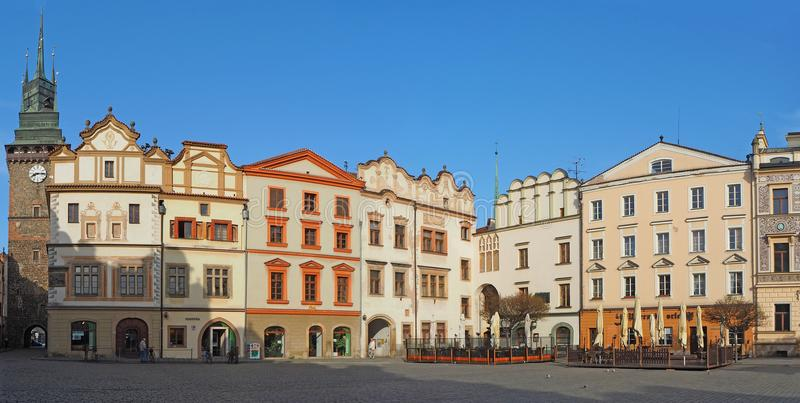 Pardubice, Czech Republic. The facade of the historical buildings in the city center.  stock photography
