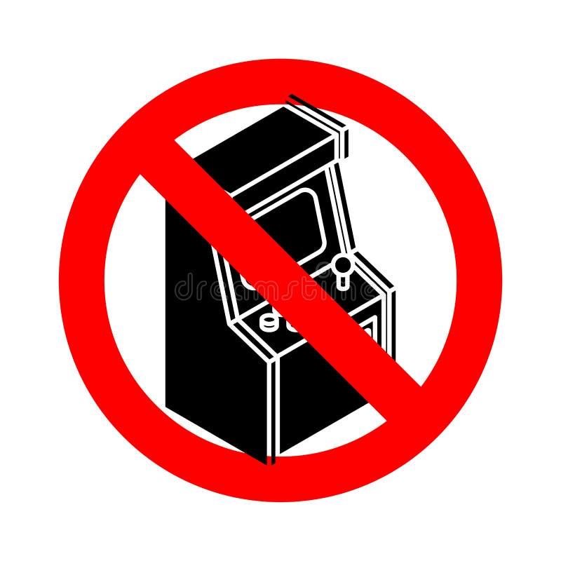 Pare Arcade Machine idoso Jogo retro do videogame da proibição R proibido ilustração stock