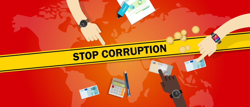 Pare as mãos corrompidas do subôrno da corrupção que oferecem o dinheiro do dinheiro ilustração stock