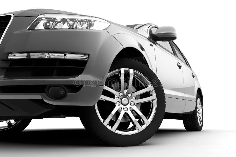 Pare-chocs avant, lumière et roue de véhicule images libres de droits