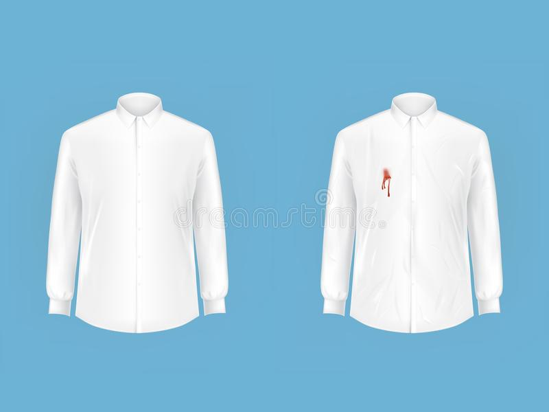 Clean and dirty shirt before after washing vector stock for How to clean white dress shirts