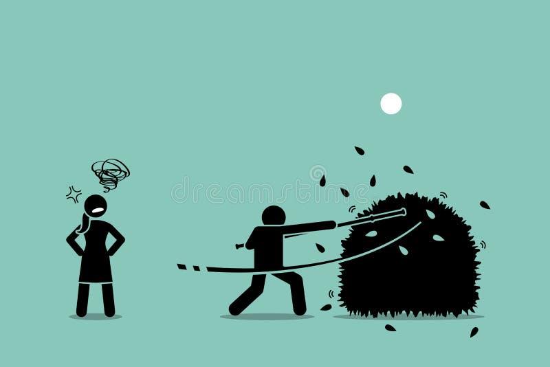 Pare de bater em torno dos arbustos ilustração royalty free