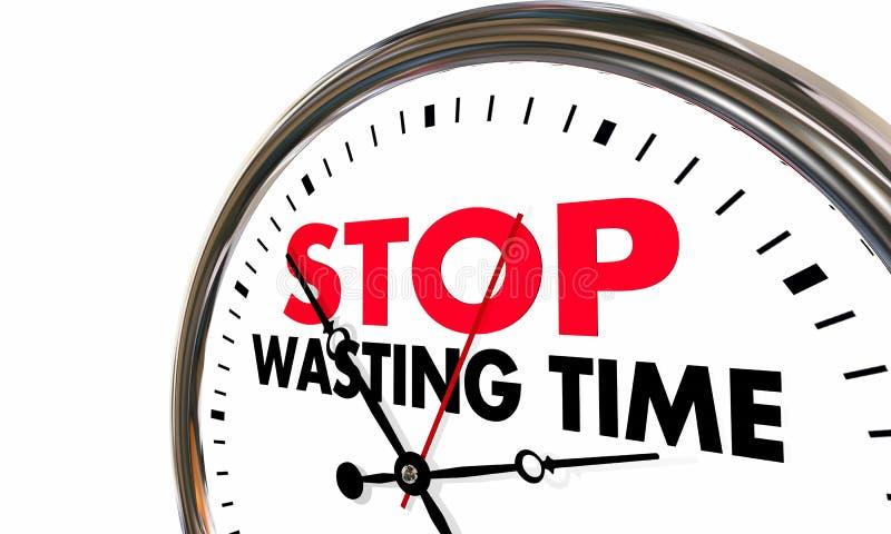 Pare de desperdiçar horas perdidas relógio de ponto dos minutos ilustração stock