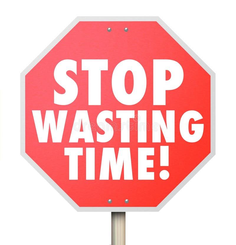 Pare de desperdiçar o uso incapaz da gestão de tempo dos minutos a Dinamarca das horas ilustração stock