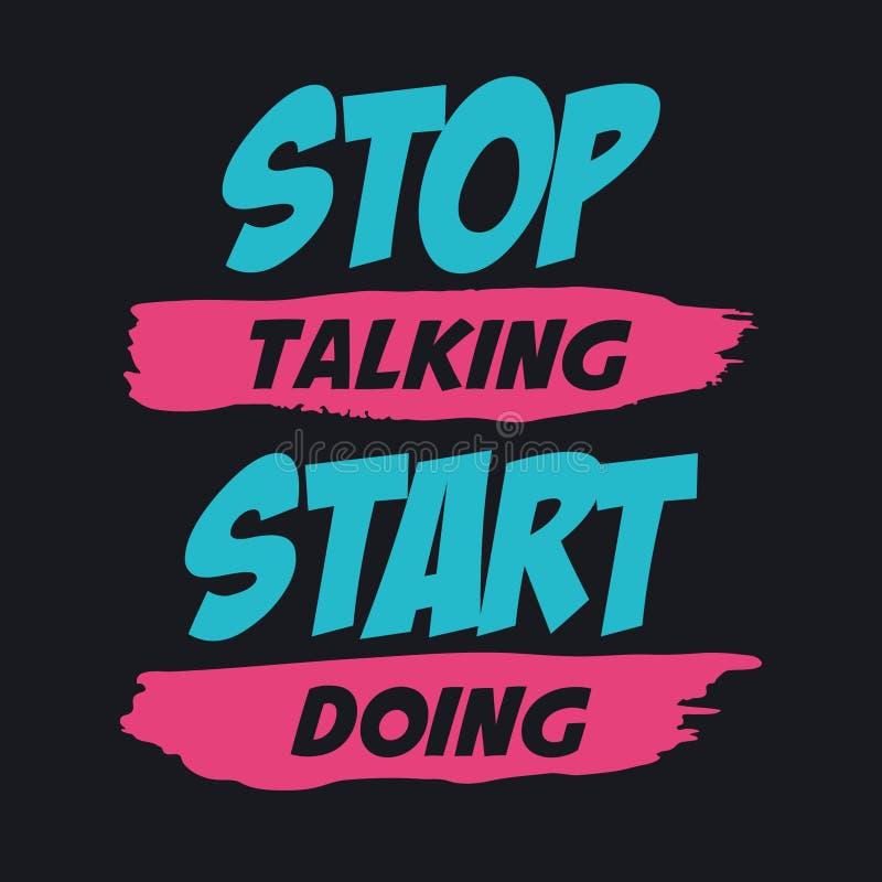 Pare de falar fazer do começo ilustração do vetor