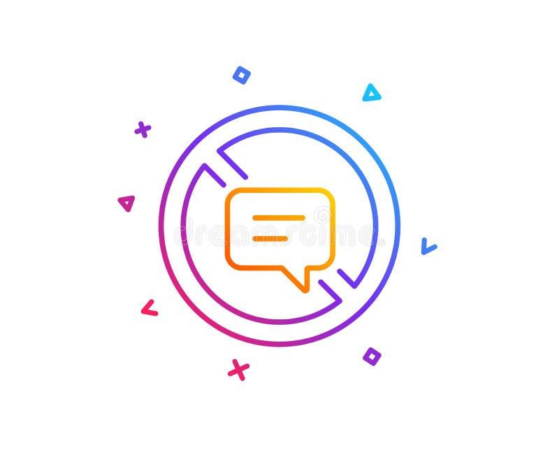 Pare de falar a linha ícone Mensagem ou SMS do bate-papo Vetor ilustração stock