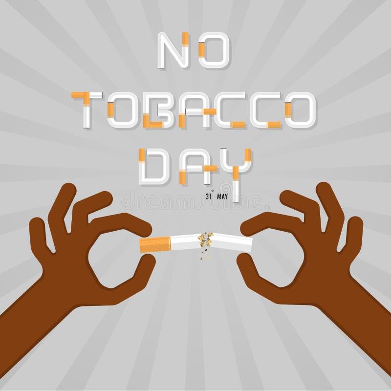 Pare de fumar com as mãos humanas que quebram o cigarro Mão humana ilustração stock