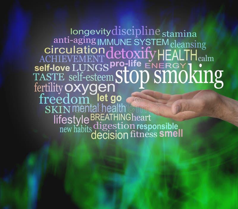 PARE DE FUMAR a nuvem da etiqueta da palavra foto de stock royalty free