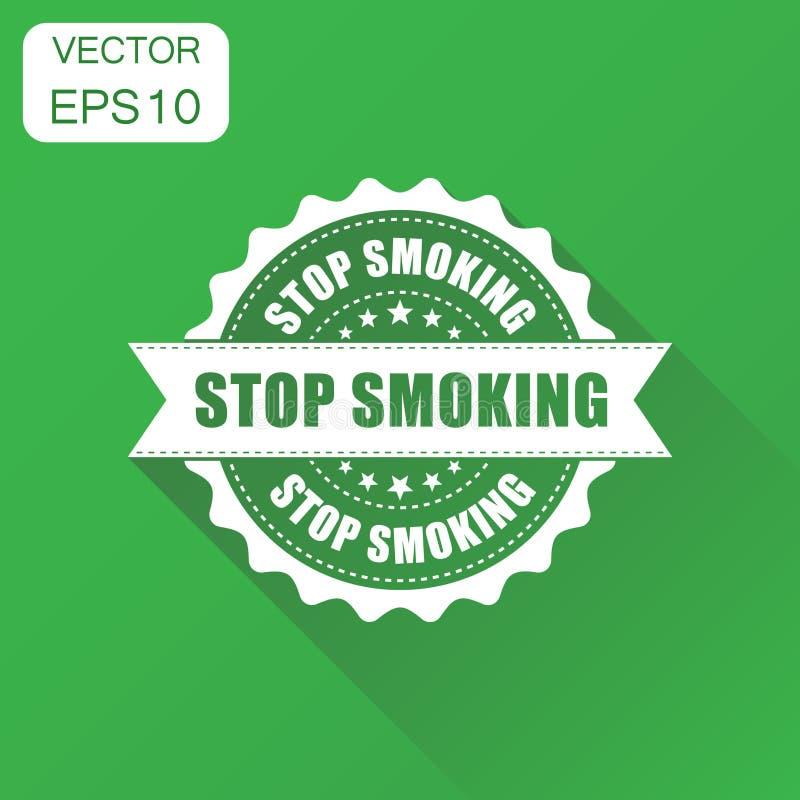 Pare de fumar o ícone do carimbo de borracha Conceito do negócio nenhum selo do fumo ilustração do vetor