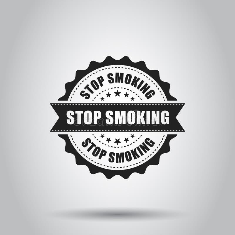 Pare de fumar o carimbo de borracha do grunge Ilustração do vetor em b branco ilustração stock