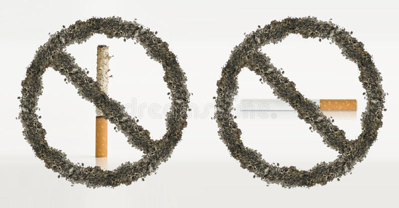 Pare de fumar o conceito das cinzas ilustração stock