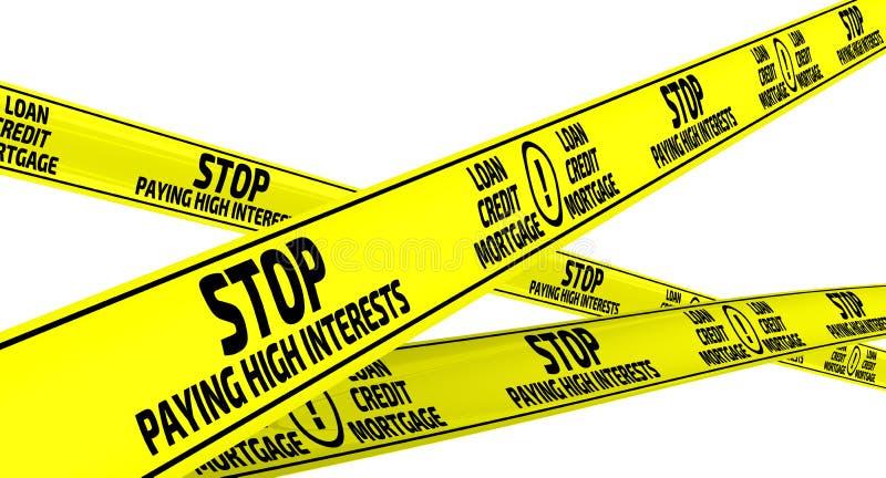 Pare de pagar interesses altos Fitas de advertência amarelas ilustração royalty free