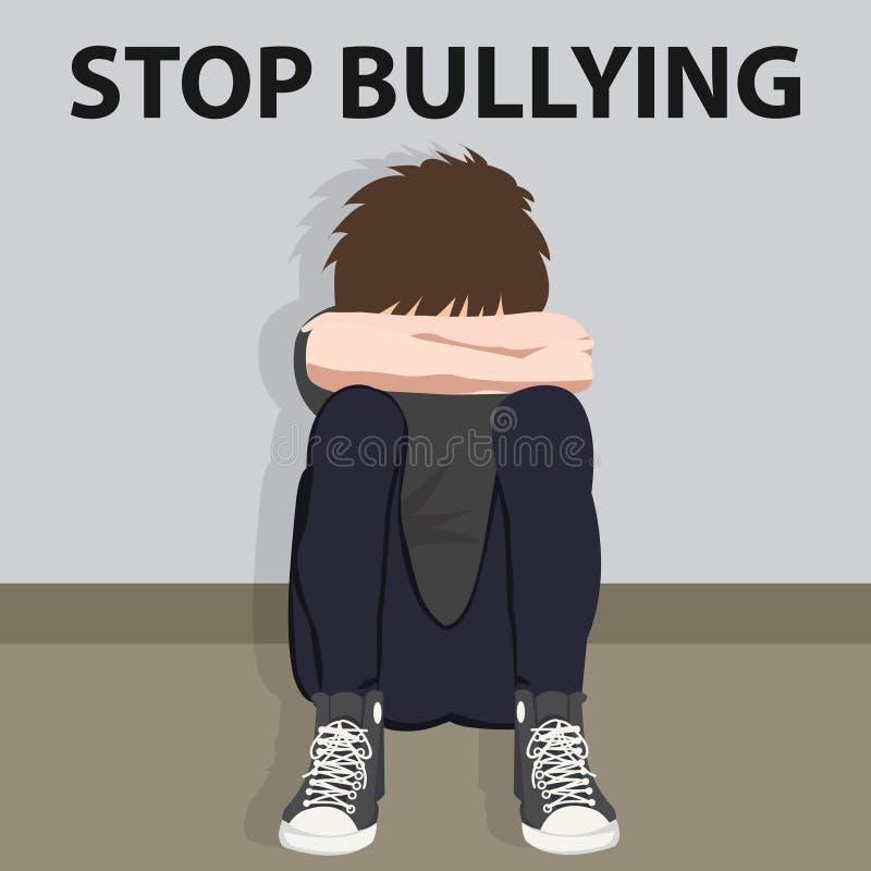 Pare de tiranizar a ilustração tiranizada jovem criança do vetor da vítima da intimidação das crianças ilustração stock