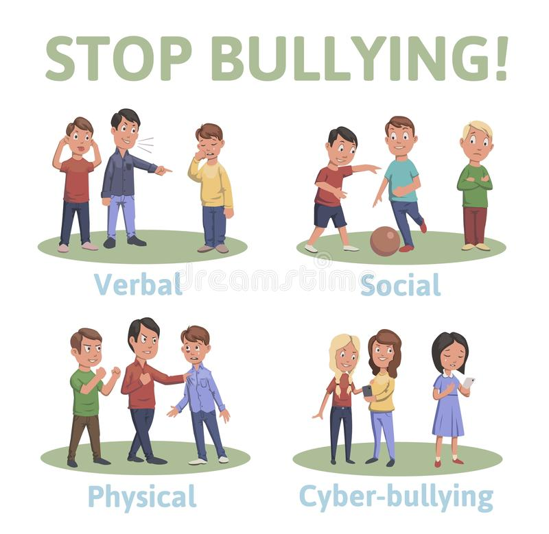 Pare de tiranizar na escola 4 tipos de tiranizar: verbal, social, físico, cyberbullying Ilustração do vetor dos desenhos animados ilustração do vetor
